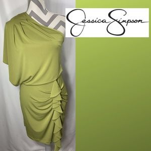 Jessica Simpson Green One Shoulder Dress